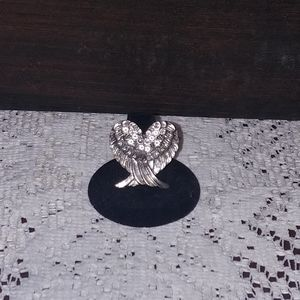 New Adjustable Crystal Angel Wing Ring